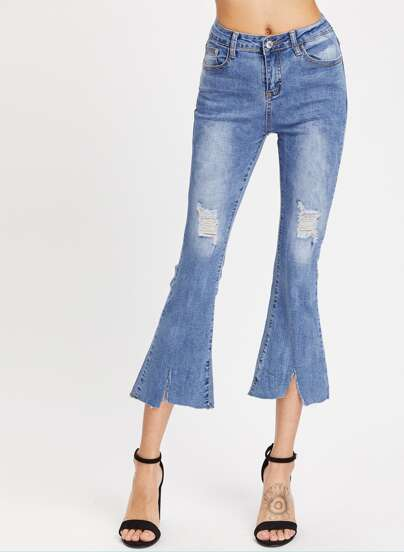 Ripped Detail Flare Jeans