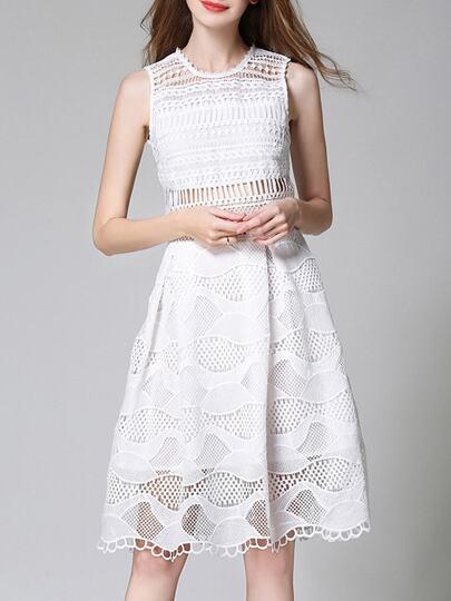 Crochet Hollow Out Mesh Dress