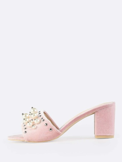 Velvet Beaded Pearl Mules BLUSH
