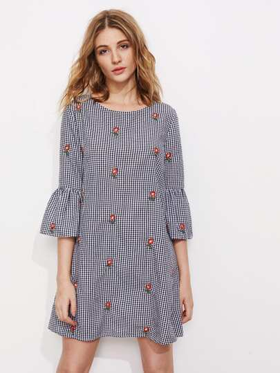 Fluted Sleeve Bow Back Flower Embroidered Gingham Dress