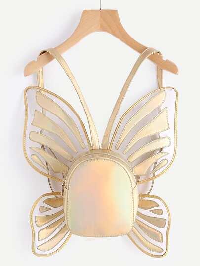 Sac à dos métallique en forme du papillon en PU