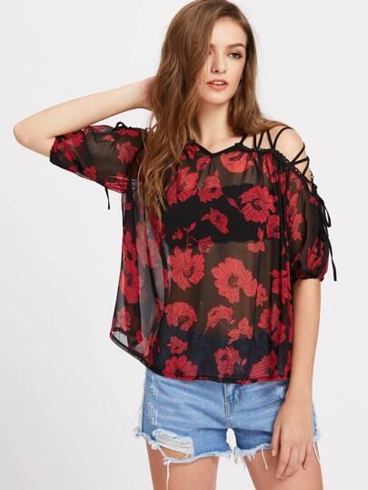 Floral Print Lace Up Shoulder Sheer Chiffon Top