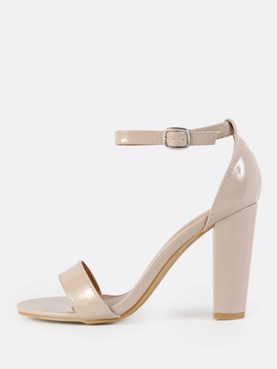Patent Ankle Strap Heels NUDE