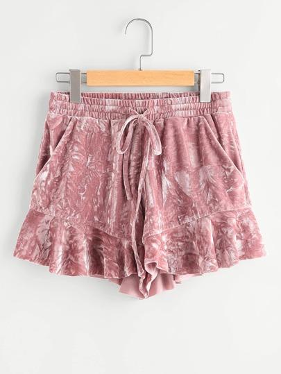 Frilled Hem Crushed Velvet Shorts