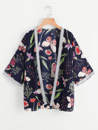 Embroidered Tape Detail Printed Kimono