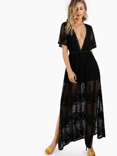 V Neck Sheer Maxi Dress BLACK
