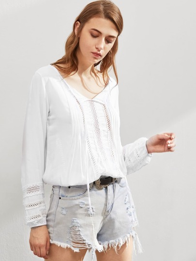 Contrast Lace Hollow Out Top