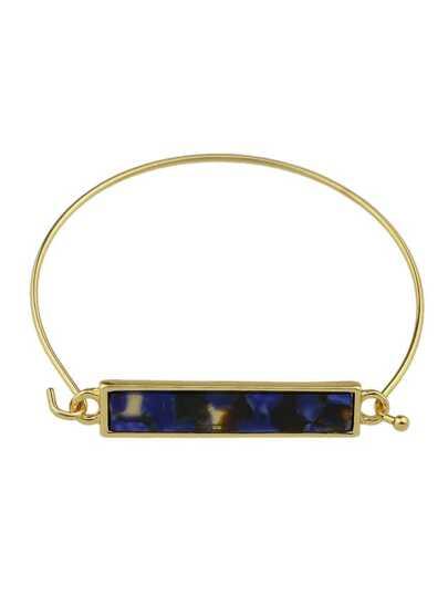Boho Acrylic Stone Blue Color Thin Metal Bangle