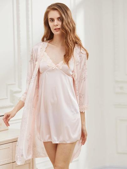 Lace Slip Night Dress With Kimono Robe