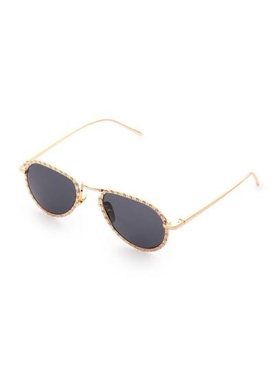 Gafas de sol estilo aviador con marco de pedrería