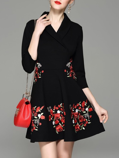 V Neck Flowers Embroidered Dress