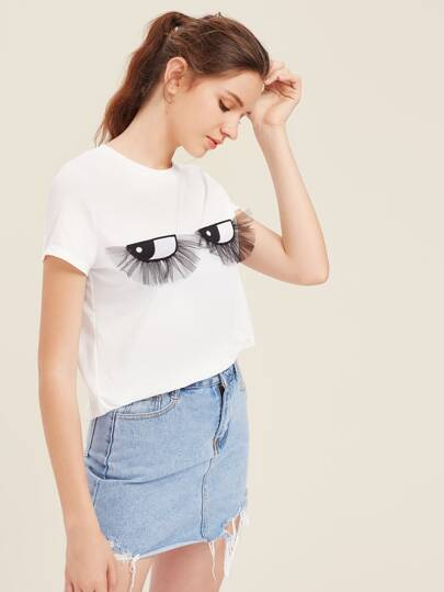 Embroidered Eyes Applique T-shirt