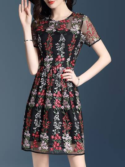 Gauze Flowers Embroidered Sheer Shift Dress
