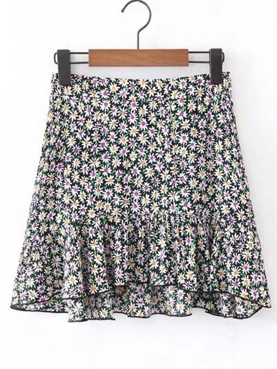 تنورة قصيرة طباعة الزهور لنساء