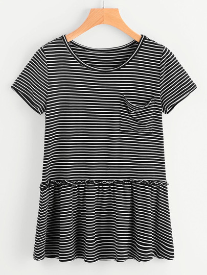 Striped Pocket Front Ruffle Hem Tee