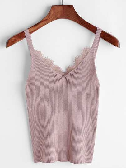Eyelash Lace Trim Knit Top