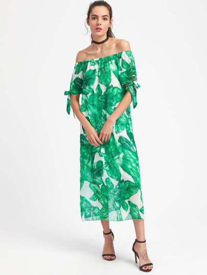 Palm Leaf Print Tie Cuff Bardot Dress