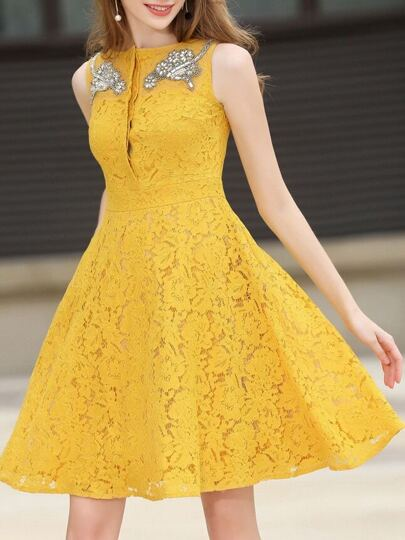 Beading Pockets Lace Dress