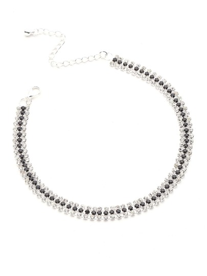 Rhinestone And Beaded Design Layered Choker