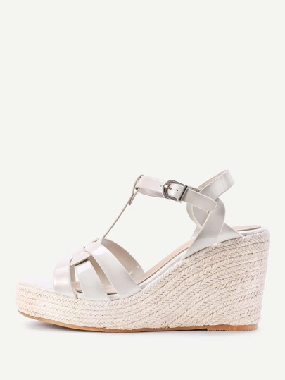 PU Platform Woven Wedge Sandals