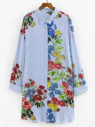 Rolled Cuff Flower Print Shirt Dress