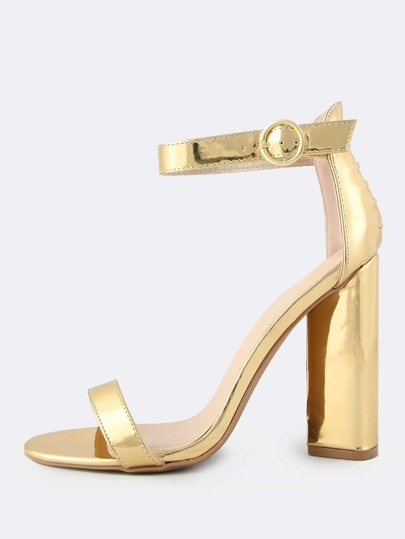 Metallic Ankle Strap Triangular Heels GOLD