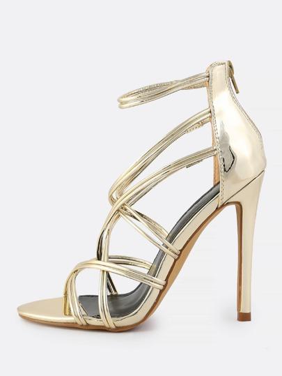 Patent Super Strap Heels GOLD