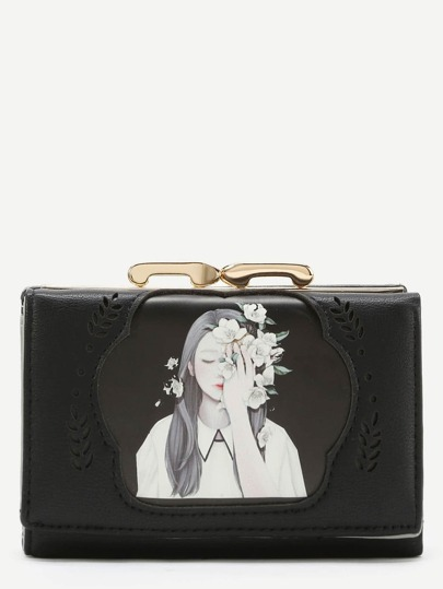 Cut Out Detail PU Wallet With Girl Print