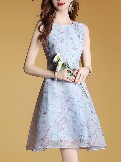 Crew Neck Floral A-Line Dress