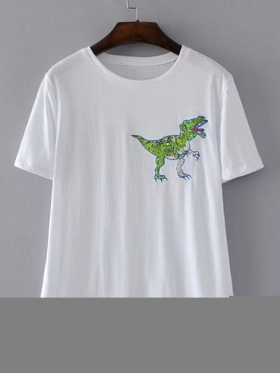 Dinosaur Embroidered Sequin Detail Tee