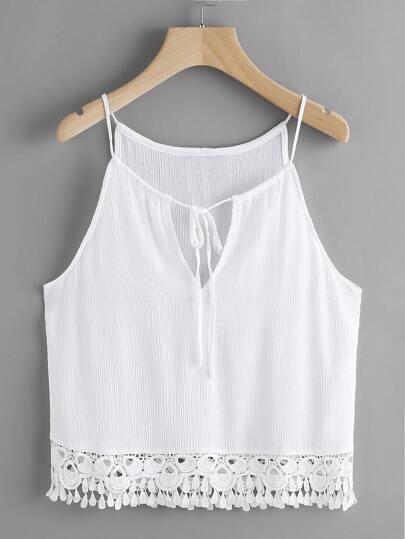 Camiseta de encaje con cordón