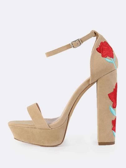 Platform Embroidered Heels NUDE