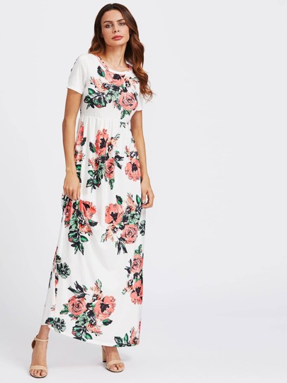 Flower Print Hidden Pocket Side Empire Waist Dress