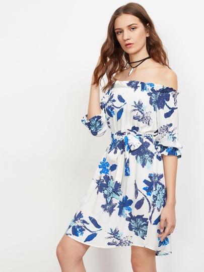 Flower Print Fluted Sleeve Self Belt Bardot Dress