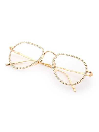 Rhinestone Embellished Frame Clear Lens Glasses