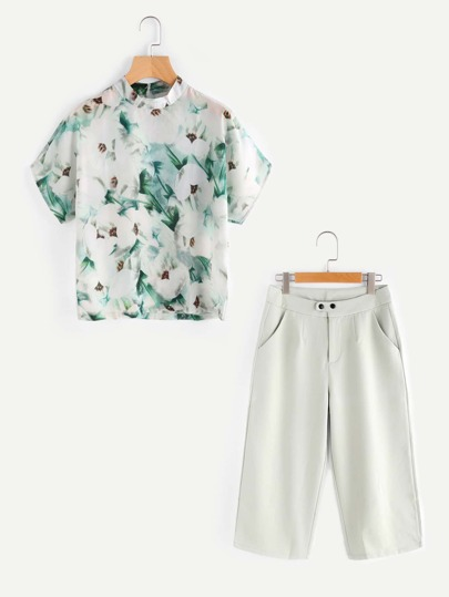 Band Collar Floral Top With Wide Leg Pants