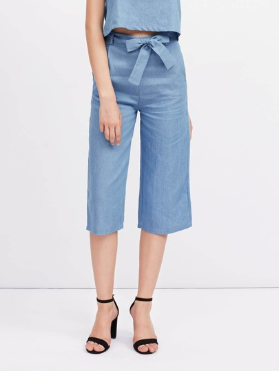 Self Tie Cropped Wide Leg Pants