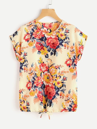 All Over Floral Print Drawstring Hem Tee