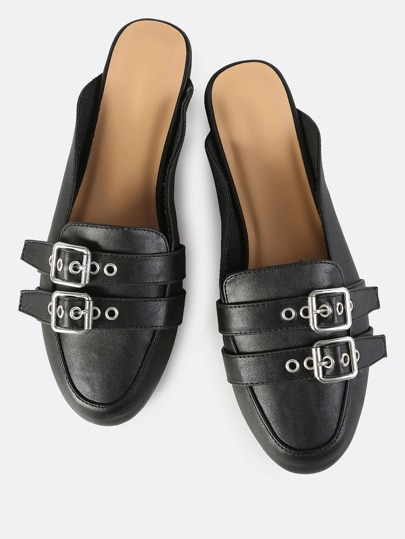 Double Buckle Backless Slip On Flats BLACK