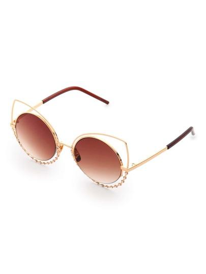 Gafas de sol estilo ojo de gato con lentes redondas