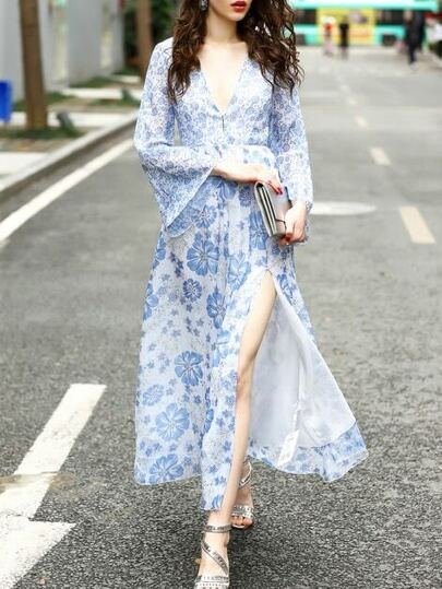 Deep V Neck Bell Sleeve Split Print Dress