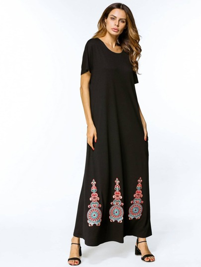 Appliques Hem Full Length Cocoon Dress