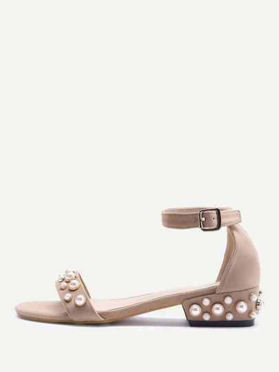 Faux Pearl Decorated Ankle Strap Sandal