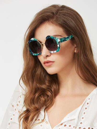 Jungle Print Frame Contrast Lens Sunglasses