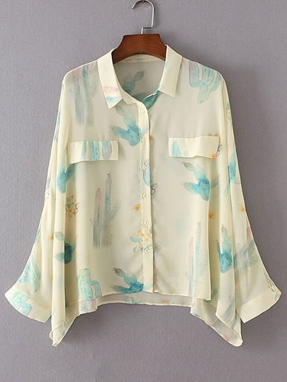 Batwing Sleeve Cactus Print Blouse