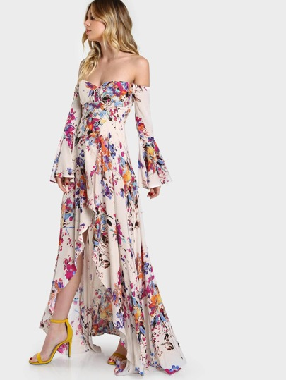 Floral Print Trumpet Sleeve Maxi Dress TAUPE