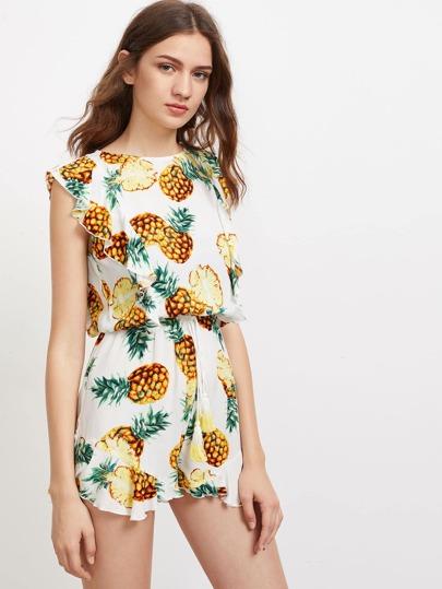 Pineapple Print Flutter Sleeve Split Back Blouson Romper