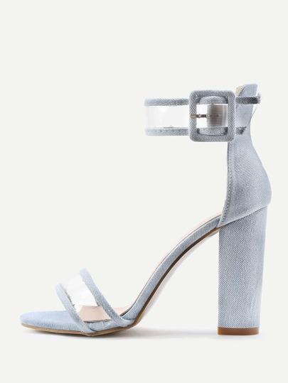 Sandali con tacco e  cinghia trasparente