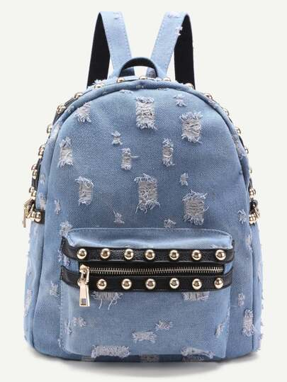Beaded Trim Distressed Denim Backpack
