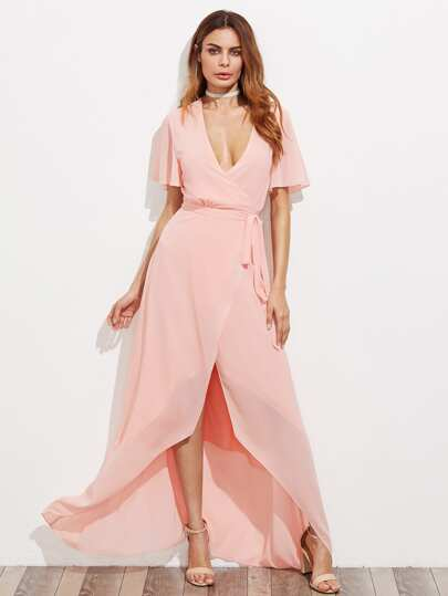 Flutter Sleeve Surplice Wrap High Low Dress
